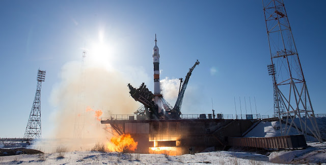 The Soyuz MS-07 spacecraft is launched with Expedition 54 Soyuz Commander Anton Shkaplerov of Roscosmos, flight engineer Scott Tingle of NASA, and flight engineer Norishige Kanai of Japan Aerospace Exploration Agency (JAXA), Sunday, Dec. 17, 2017 at the Baikonur Cosmodrome in Kazakhstan. Shkaplerov, Tingle, and Kanai will spend the next five months living and working aboard the International Space Station. Photo Credit: (NASA/Joel Kowsky)