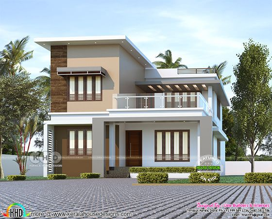 1780 sq-ft 3 bedroom flat roof house plan
