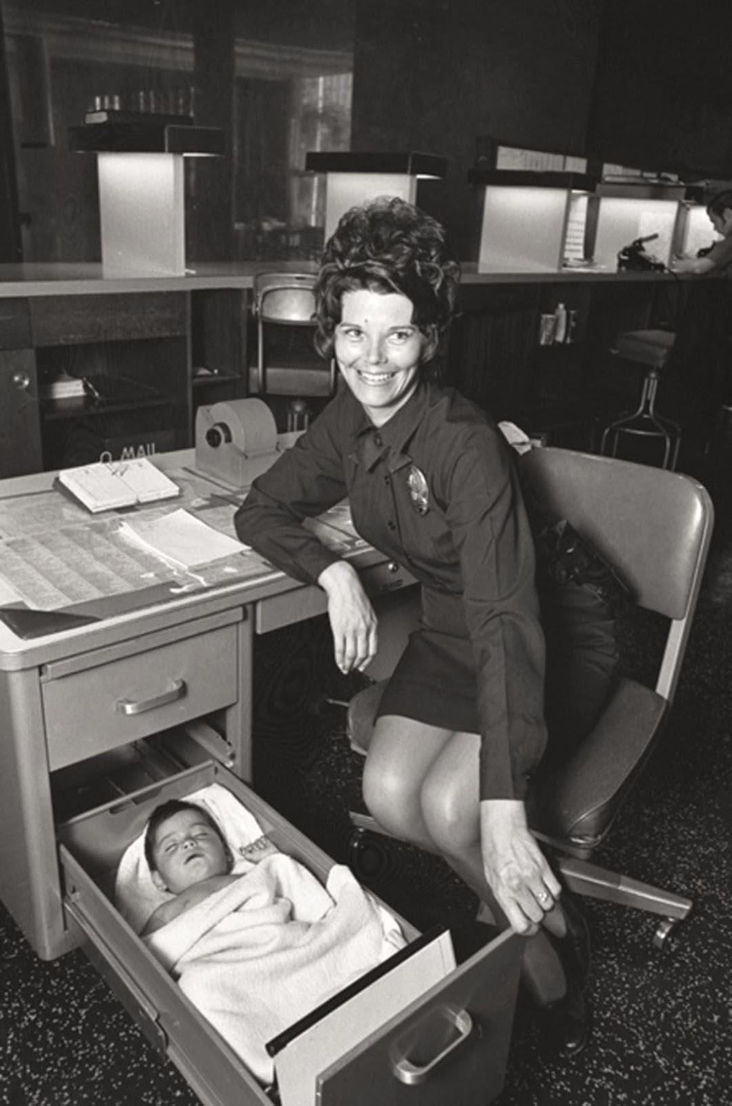 Abandoned Baby Sleeping in Desk Drawer at Los Angeles Police Station, 1971