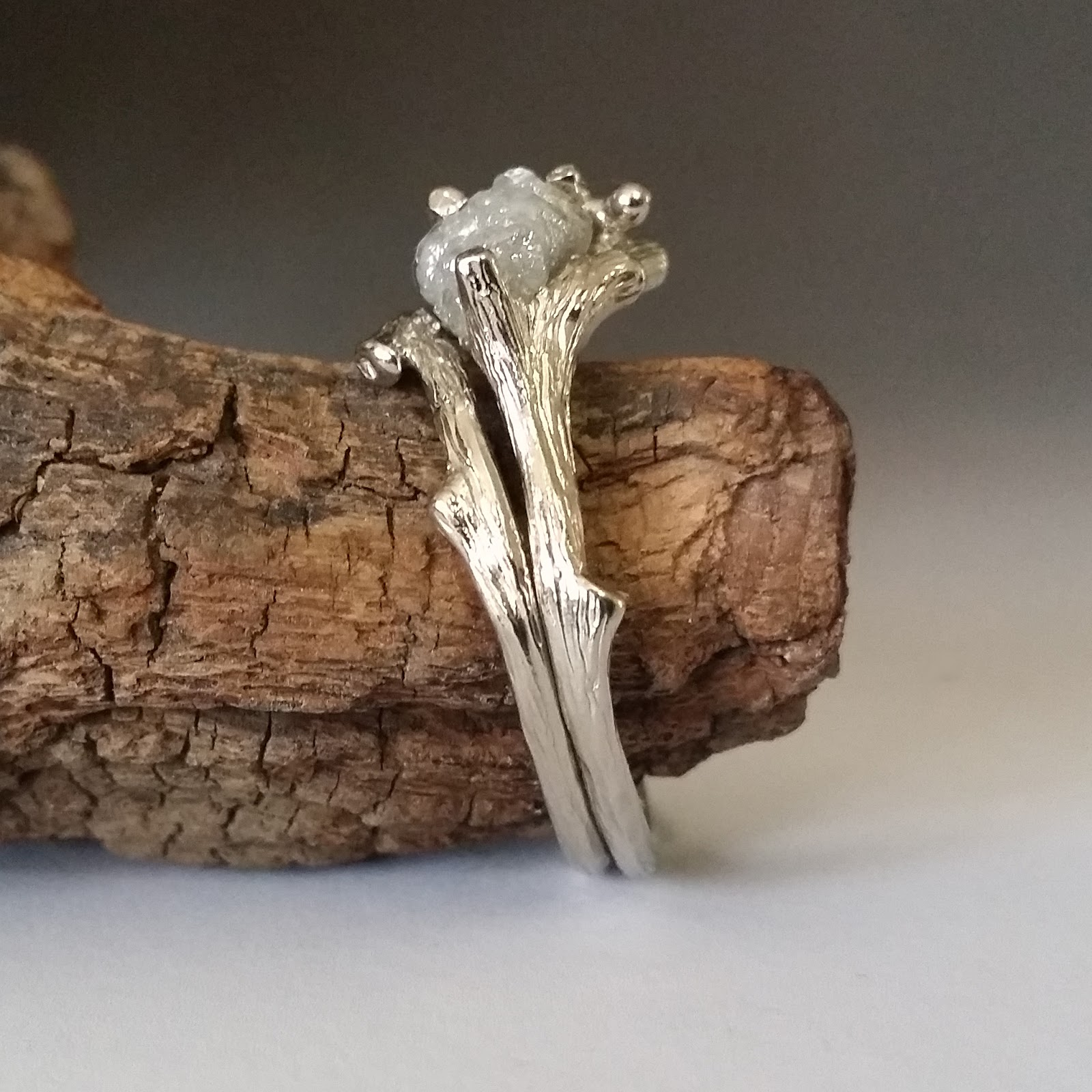 Dawn Vertrees Raw Uncut Rough Engagement Wedding Rings Wood Texture