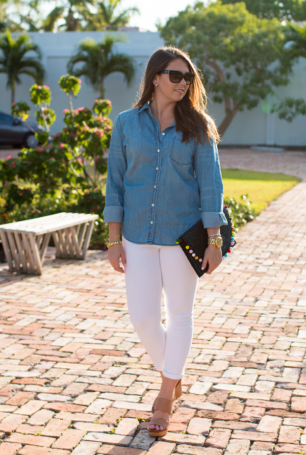 Canadian Tuxedo with Tory Burch Lexington wedges.