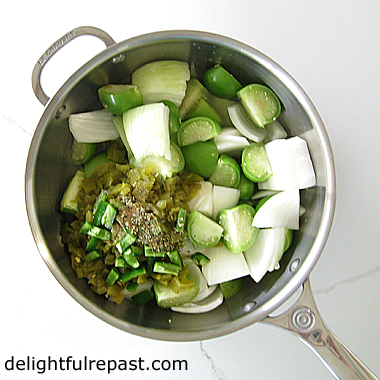 Tomatillo Salsa Verde - For Streamlined Cooking (this photo - the raw ingredients in a saucepan) / www.delightfulrepast.com