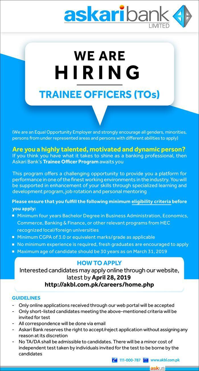 Askari Bank Trainee Officer Program 2019 | Rs. 30,000 Salary Package