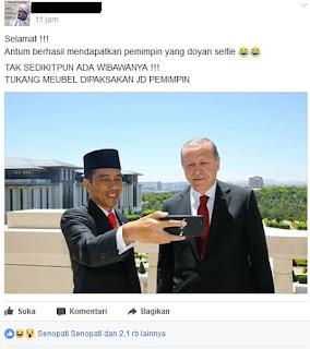Jokowi Foto Selfie dengan Erdogan, Netizen : Tak Sedikitpun Ada Wibawanya