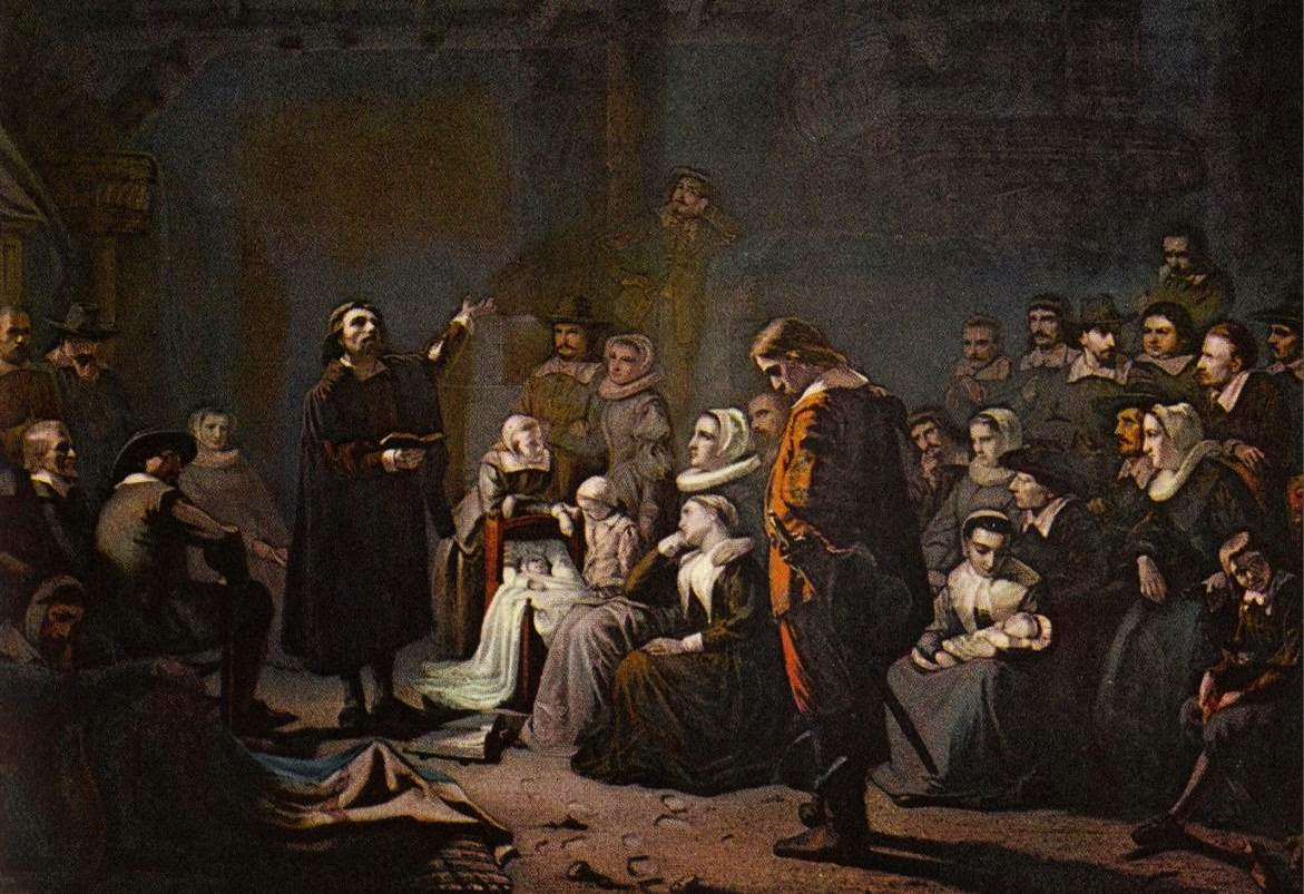 First Worship Service in Plymouth (Jan. 21, 1621) - painting by George  Johann Schwarze