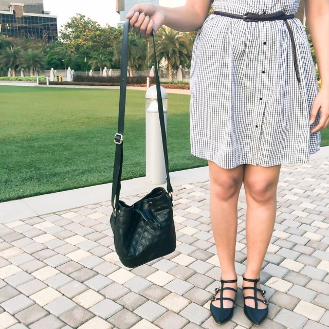 Black quilted bucket bag