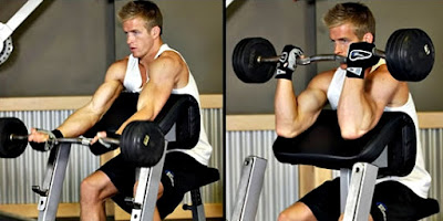 Curl predicador barra ejercicio hombre rutina pesas