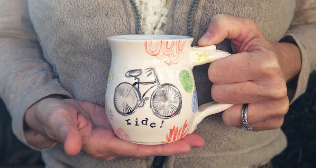 me holding the ride! mug with bicycle design