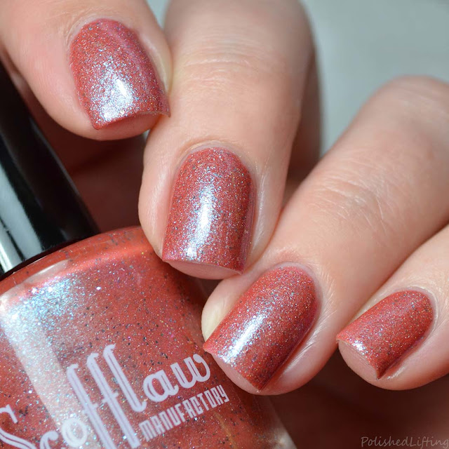 red nail polish with blue shimmer