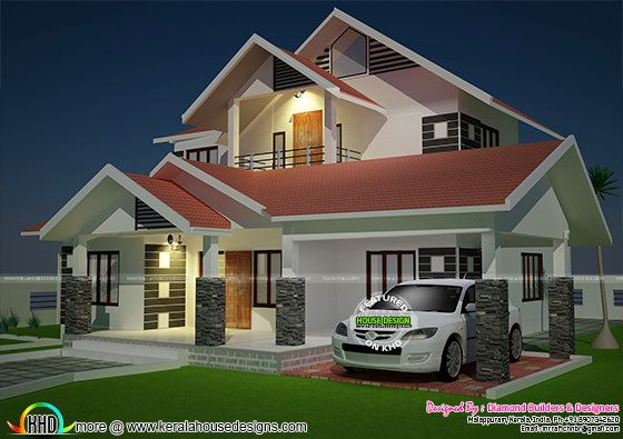 Modern sloping roof 4 bedroom home