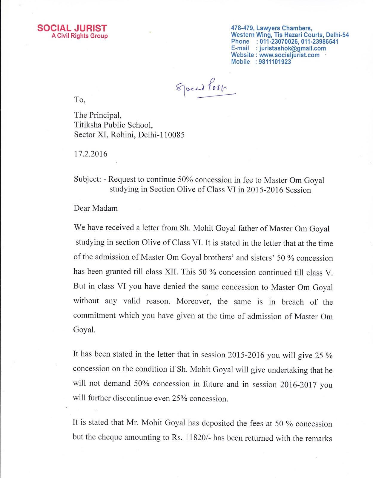 Concession Application Letter