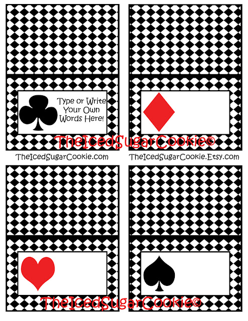 Alice In Wonderland Birthday Party Playing Cards Food Label Tent Cards-DIY Cutout Printable Digital Download-Deck of Cards Food Cards-Mad Hatter Party-White Rabbit Party-Tea Party