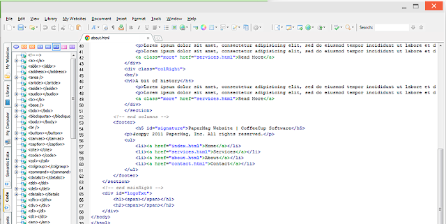 User interface of coffeecup html editor.