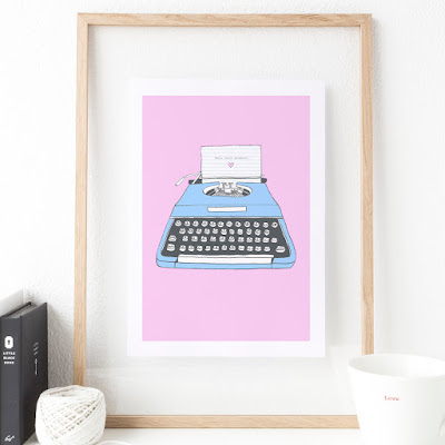 Well Hello Gorgeous retro typewriter print wall art | PhotoFairytales