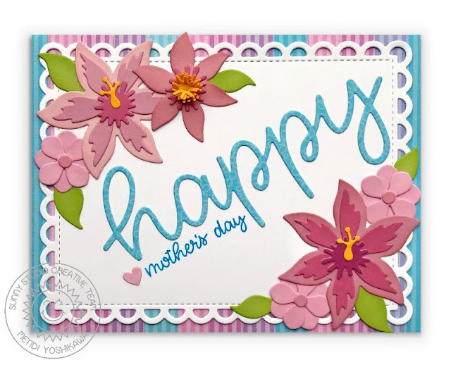 Sunny Studio Stamps: Botanical Backdrop Mother's Day Card (using Happy Word Die, Happy Thoughts Stamps, Frilly Frames Lattice Dies & Dots & Stripes Pastels Paper)