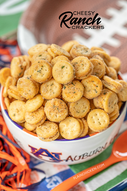 Cheesy Ranch Crackers - ritz bits tossed in a quick ranch mixture. SO good!!! Great for parties and in soups and chilis. We always have a bag in the pantry. Ritz Bits Cheese Sandwich Crackers, oil, Ranch mix, garlic powder. Can make in advance and store in an air-tight container. #tailgating #appetizer #ranch #cheese #partyfood