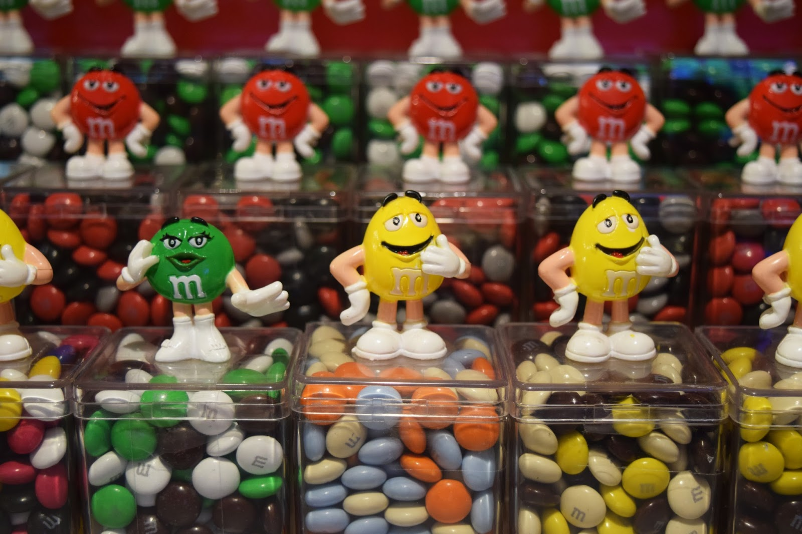 rows of M&M sweets
