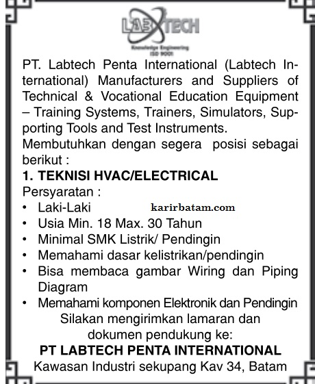 Lowongan Kerja PT. Labtech Penta International