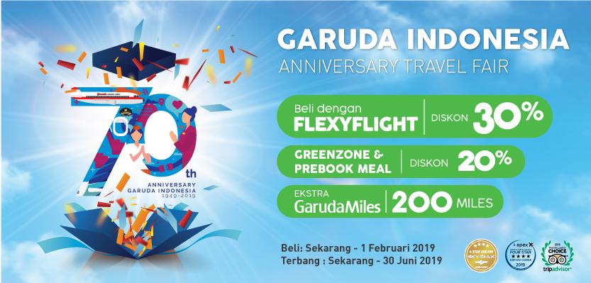 #Citilink - #Promo Tiket FlexyFlight Diskon 30% di Garuda Indonesia Anniversary Travel Fair