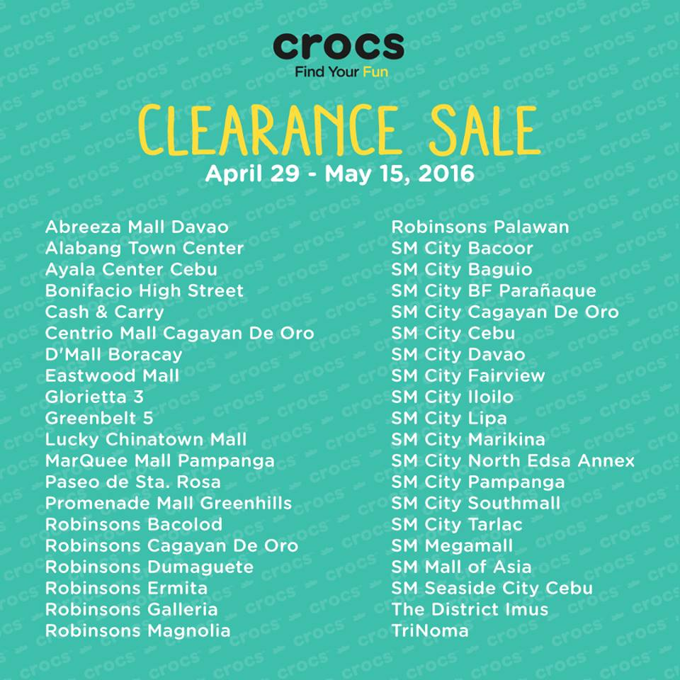 546991125  Sale is on Select Styles Only.  At any participating Crocs concept and  outlet stores nationwide.
