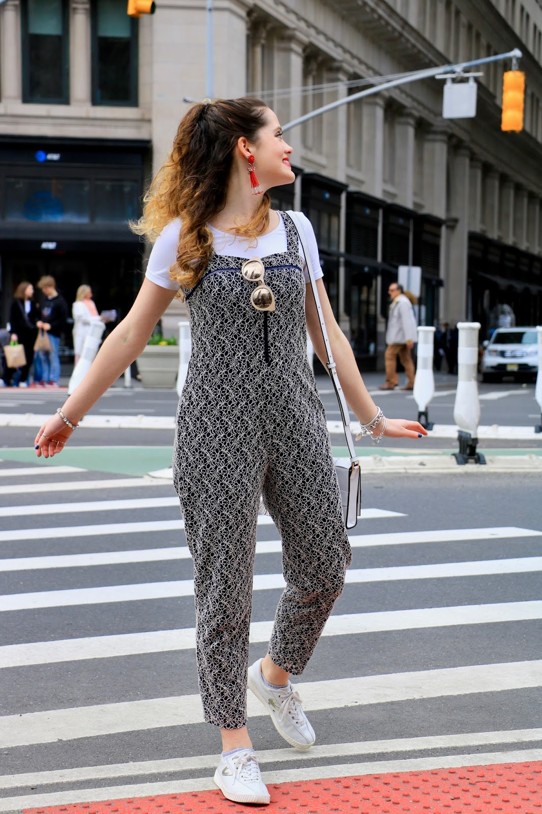 Nyc fashion blogger Kathleen Harper showing how to wear a jumpsuit