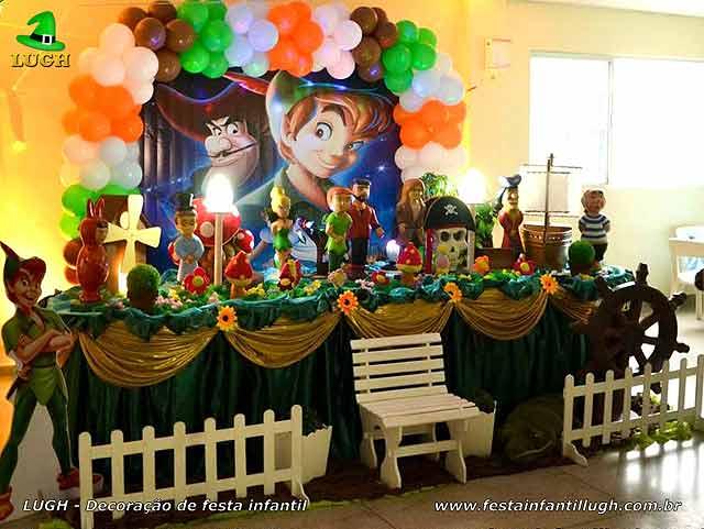 Decoração de aniversário Peter Pan, mesa temática decorada para festa infantil - Barra RJ