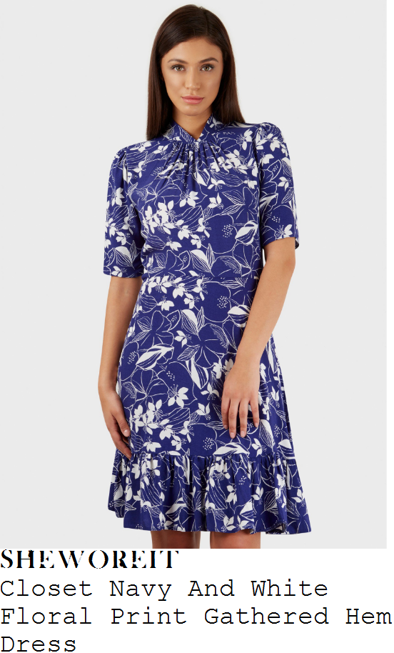 susanna-reid-closet-navy-blue-and-white-floral-print-half-sleeve-high-neck-gathered-front-ruffle-frill-hem-shift-detail