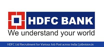 HDFC Ltd Recruitment for Various Job Post across India