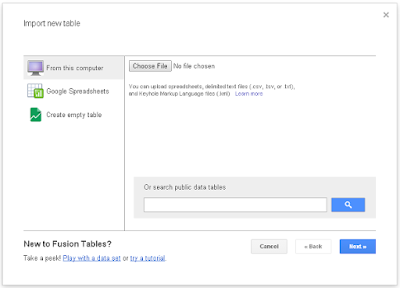 Import a new dataset into google table fusion