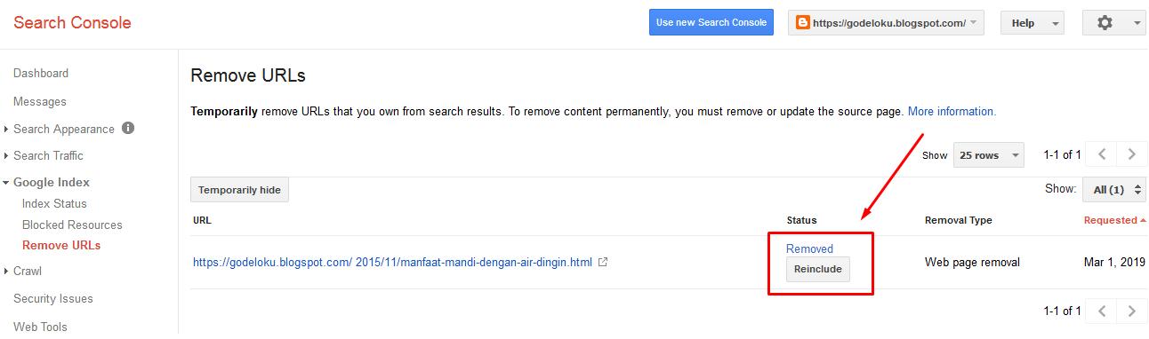 Cara Cek URL Artikel 404 Sudah Berhasil Terhapus Webmaster Tool