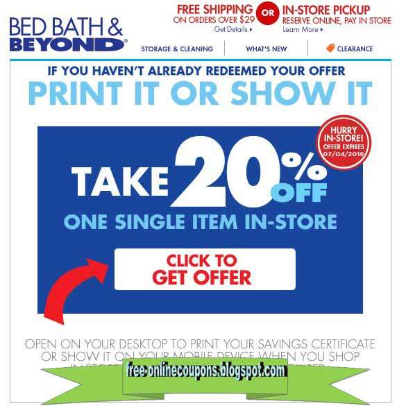 Bed bath and beyond coupon code free shipping 2018