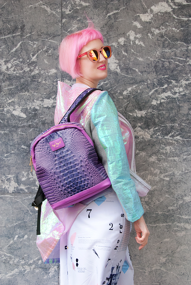High Spirit backpack, iridescent jacket, pink hair