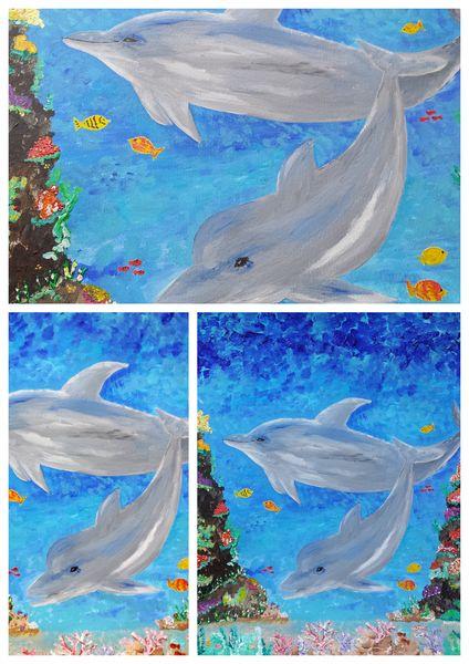 comment peindre dauphins, peinture acrylique