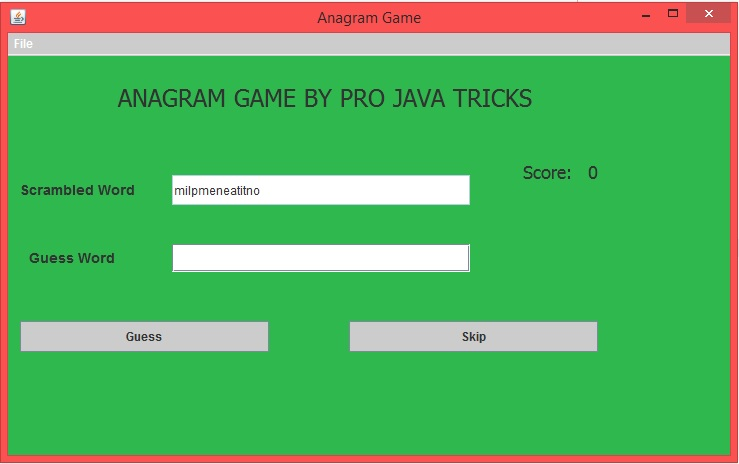 Anagram Word Puzzle Game In Java ~ Projavatricks