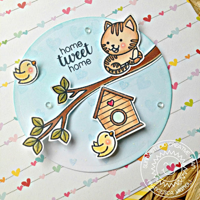 Sunny Studio Stamps: Cascading Hearts Mini Circle Home Tweet Home Card by Franci Vignoli