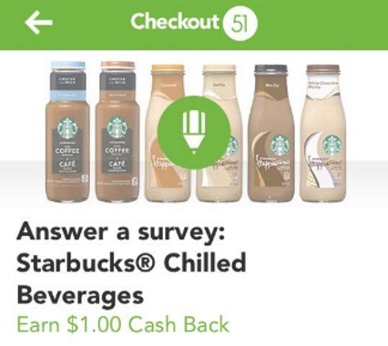 Checkout 51 Starbucks Chilled Beverages Survey $1 Cash Back Bonus