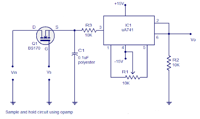 simple and hold circuit using op amp circuits diagram
