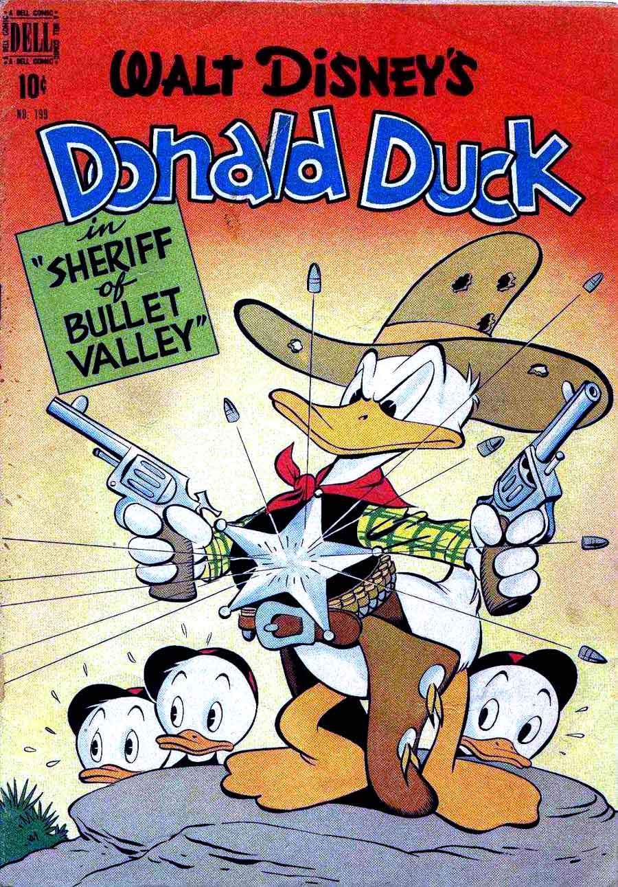 Donald Duck Four Color Comics #199 - Carl Barks 1940s dell comic book cover art
