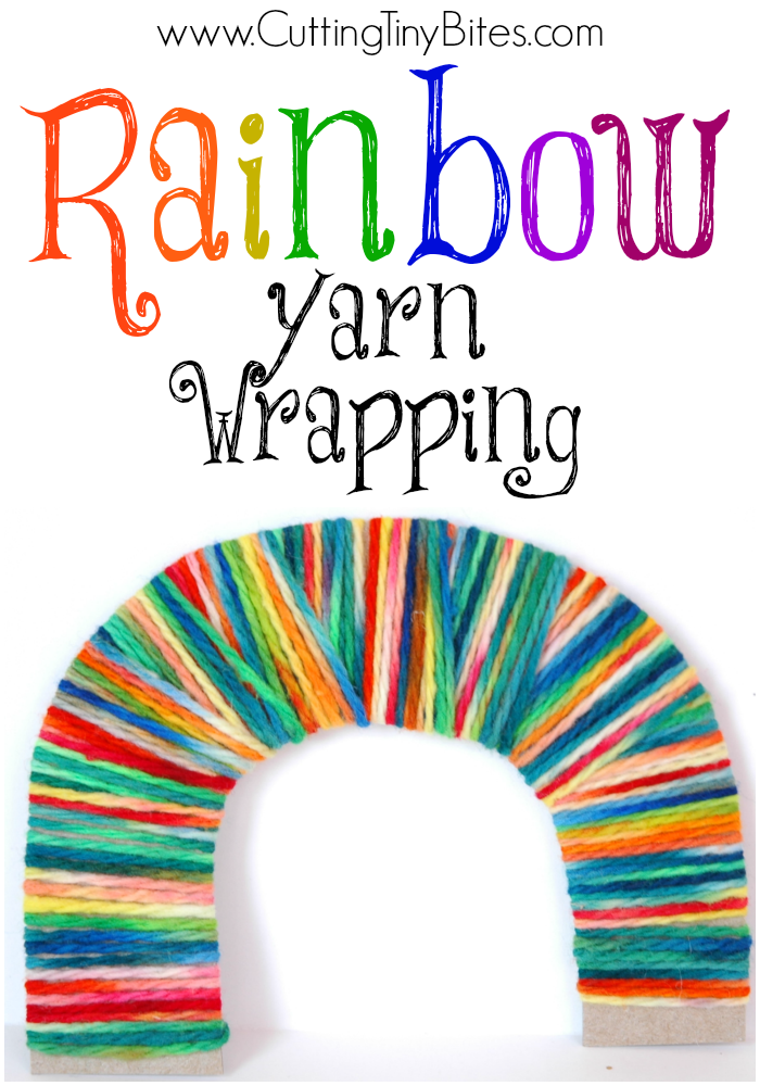 Rainbow Yarn Wrapping- colorful fine motor craft for kids. Great for St, Patrick's Day or color theme.