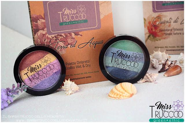 miss trucco eyeshadow palette ombretti terra  acqua  packaging terra acqua mix perfetto viola blu verde bronzo