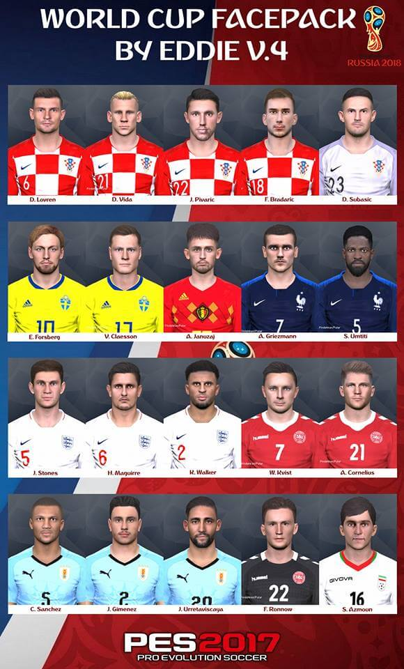 FIFA World Cup 2018 Russia Facepack PES 2017