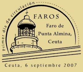 Matasellos PDC de Ceuta de la Hoja Bloque de Faros 2007