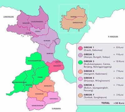 Peta Kabupaten Gresik Jawa Timur