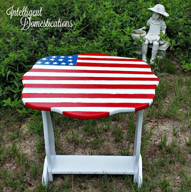 painted patriotic porch table