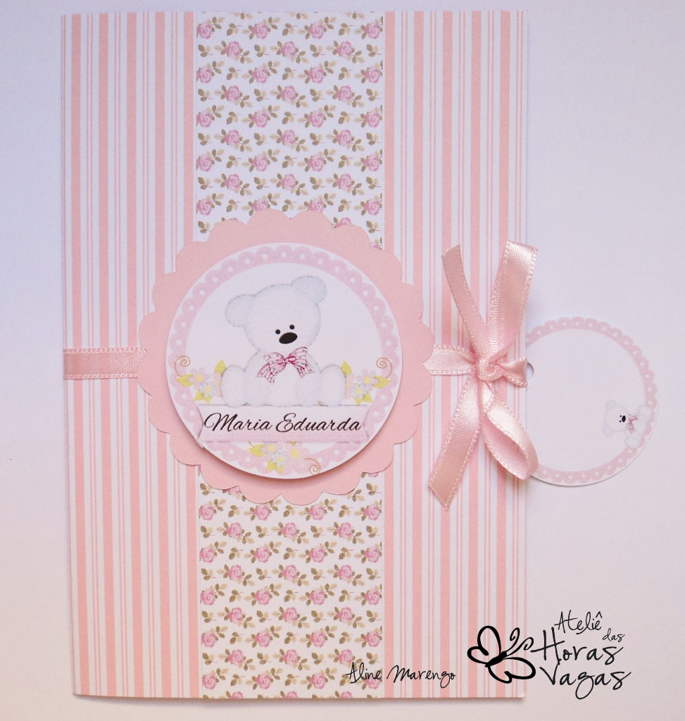 convite artesanal aniversário infantil ursinho branco urso floral rosa menina bebê