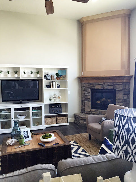 Great Room remodel with Jen Gallacher from www.jengallacher.com. Before and After (and during) photos included. #remodel #greatroom #fireplaceremodel
