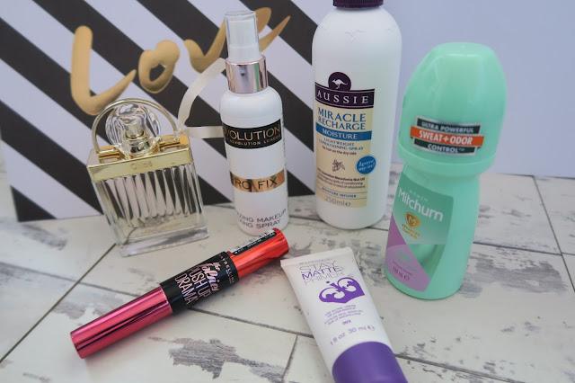 February Favourites, Chloe Love Story Perfume, Makeup Revolution Pro Fix Spray, Aussie Miracle Recharge Leave In Conditioner, Mitchum Deodorant, Maybelline The Falsies Push Up Drama Mascara, Rimmel Stay Matte Primer