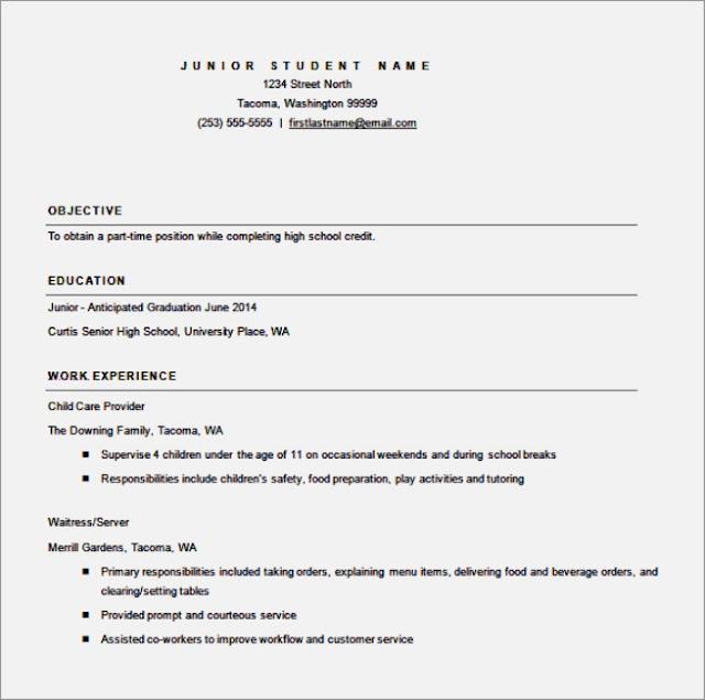 Free High School Resume Template  Resume Format Download Pdf