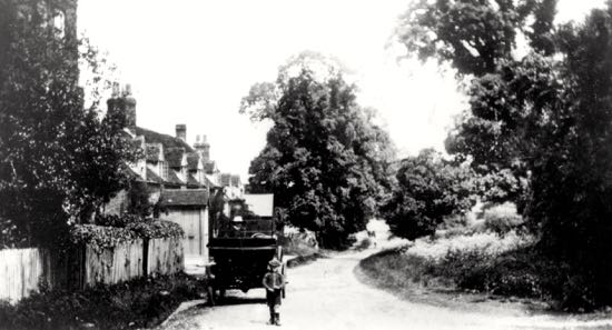 A postcard of Bell Bar village from 1917, looking north along Bell Lane Image courtesy of Mill Green Museum, part of the Images of North Mymms collection