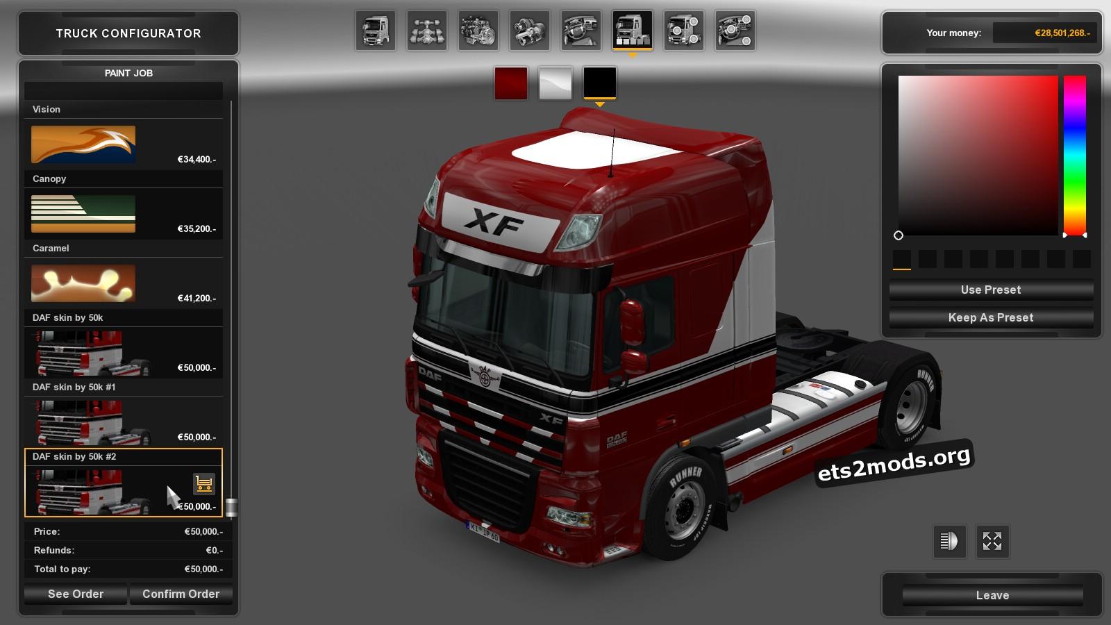 Red&White Skin for DAF 50K